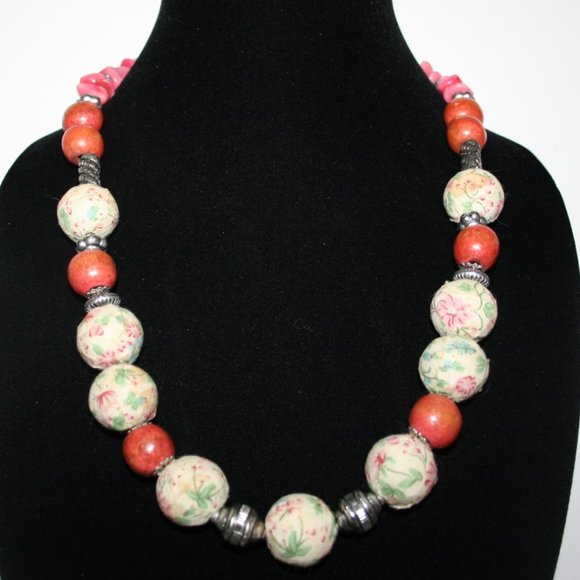 """Beautiful silver and pink fabric necklace 24"""""""